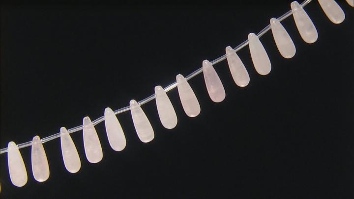 Rose Quartz 8x24mm Drop Shape Bead Strand Appx 15-16