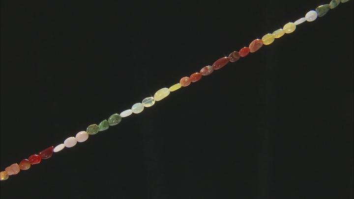 Multi Opal, Serpentine & Rhyolite Mixed Tumble Bead Strand Appx 18