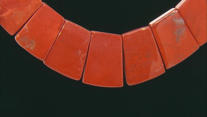 Red Jasper Appx 18x14mm - 30x40mm Graduated Collar Bead Strand Appx 13-14