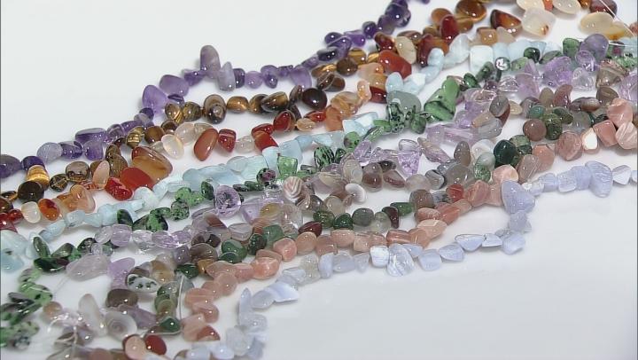 "Mixed Gemstone Fancy Free-Form Shape Bead Strand Set Of 10 Appx 15-16"""