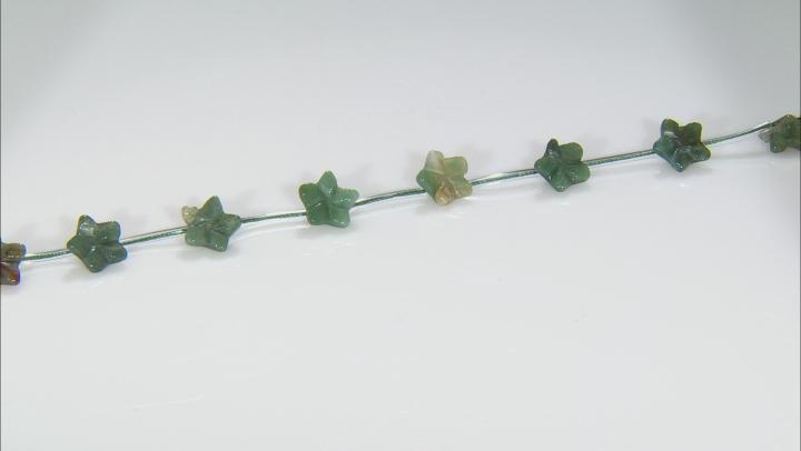Moss Agate 15mm Flower Shape Bead Strand Appx 15-16