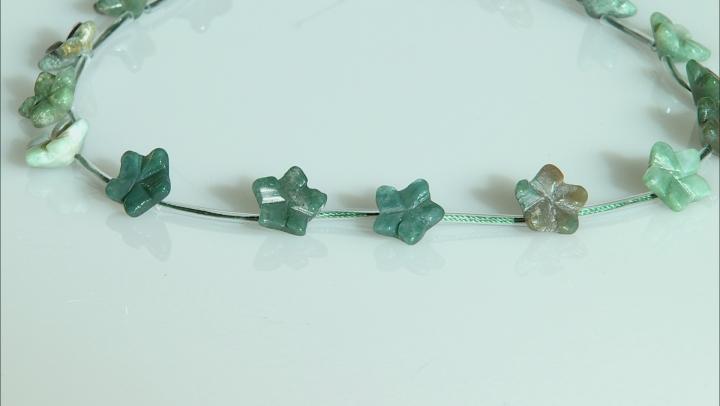 "Moss Agate 15mm Flower Shape Bead Strand Appx 15-16"""