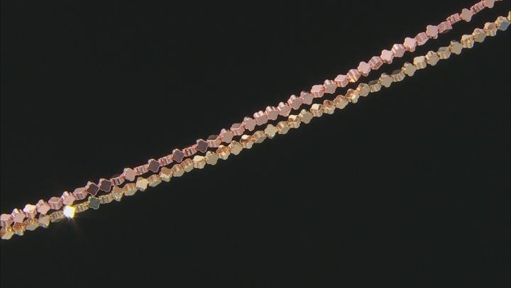 Metallic Coated Hematine 4mm Quatrefoil Shape Bead Strand Set/2 In Rose&Gold Tones Appx 15-16