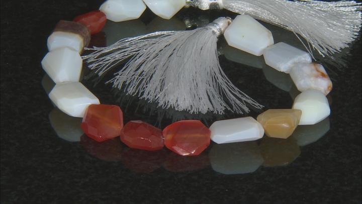 "Carnelian & Opal graduated fancy faceted nugget shape beads appx 15x10mm-20x15mm appx 8"" length"