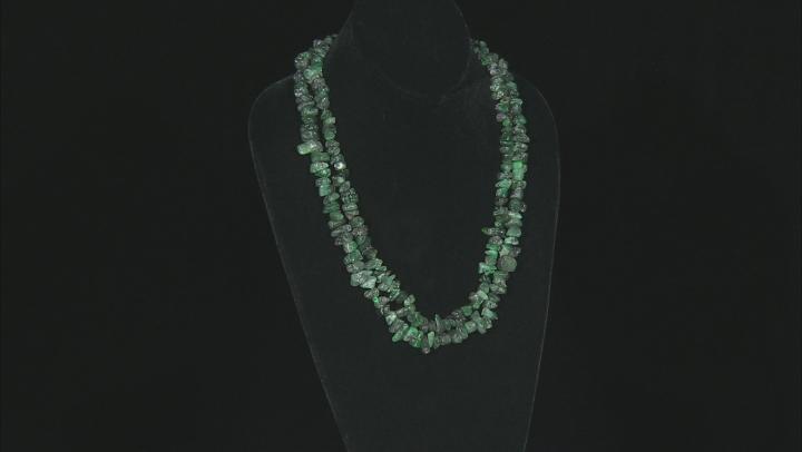 "Brazilian Emerald in Matrix Medium & Large Nugget Bead Strand Set of 2 appx 24"""