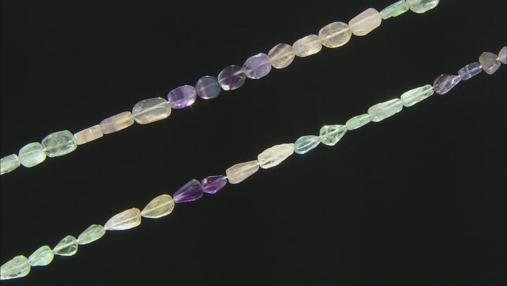 "Multi-Fluorite Pear & Oval Bead Strand Set of 2 appx 15-16"""