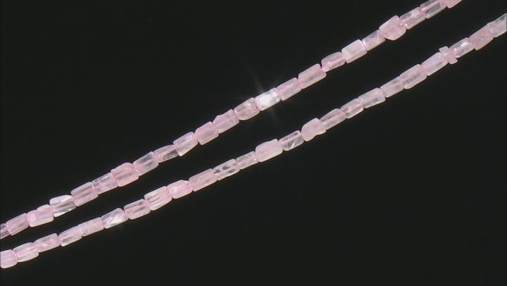 "Rose Quartz Rectangle appx 6x3mm Shape Bead Strand Set of 2 appx 15-16"""