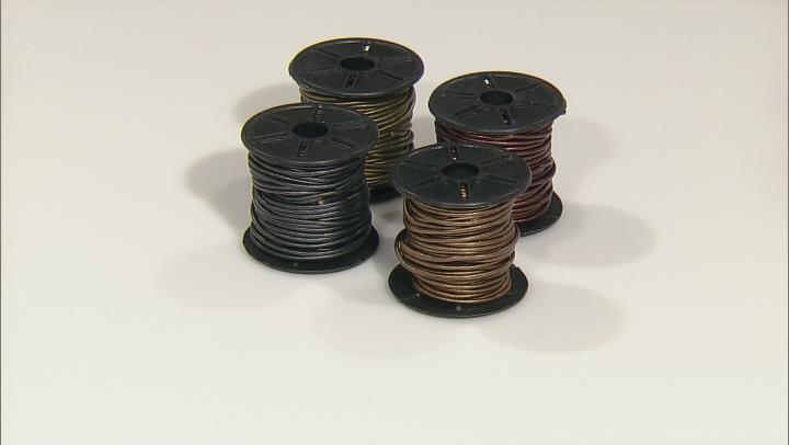 Metallic Leather Cord Round 1.5mm Set of 4  In Gauriya, Kansa, Tamba & Gunmetal Appx 10m Each