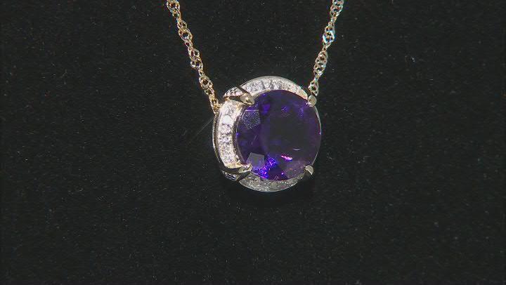 Purple Amethyst 10k Yellow Gold Pendant With Chain 2.10ctw