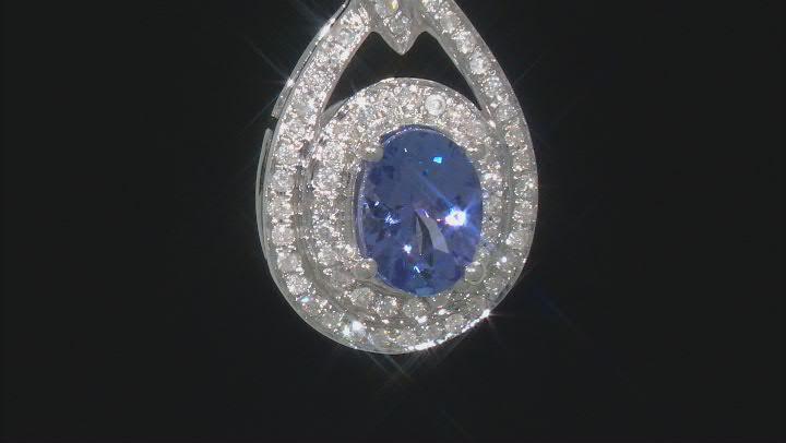 Blue Tanzanite Rhodium Over 14K White Gold Pendant With Chain 1.41ctw