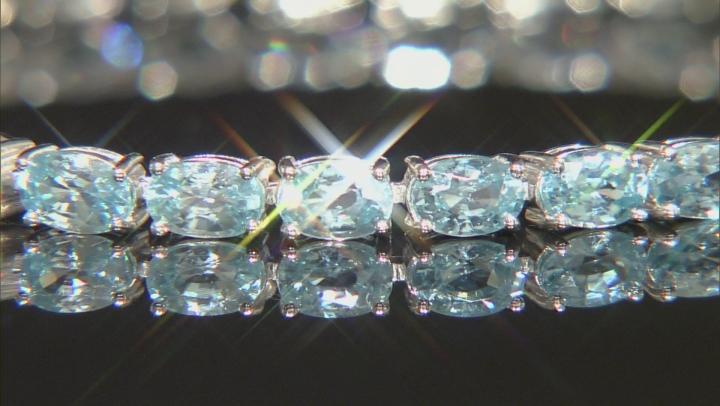 Blue Zircon Rhodium Over Sterling Silver Tennis Bracelet 20.97ctw