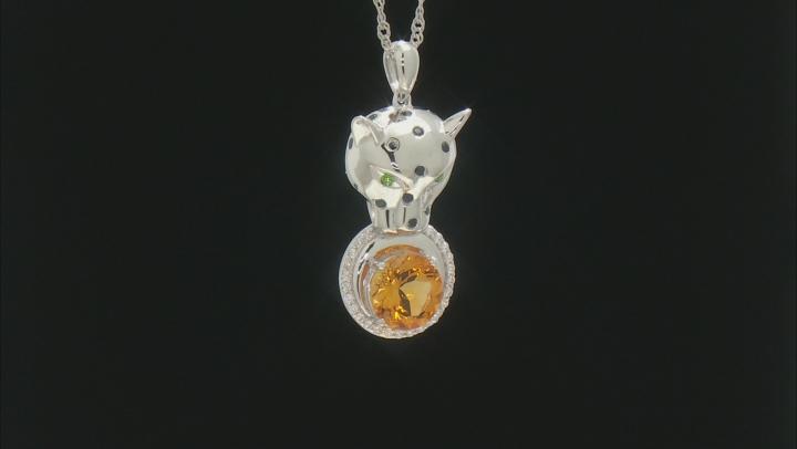 Multicolor multi-gem rhodium over silver pendant with chain 2.63ctw