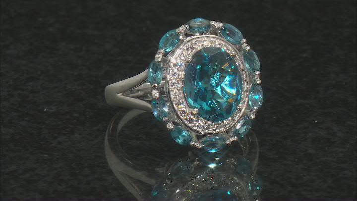 London blue topaz rhodium over silver ring 3.81ctw