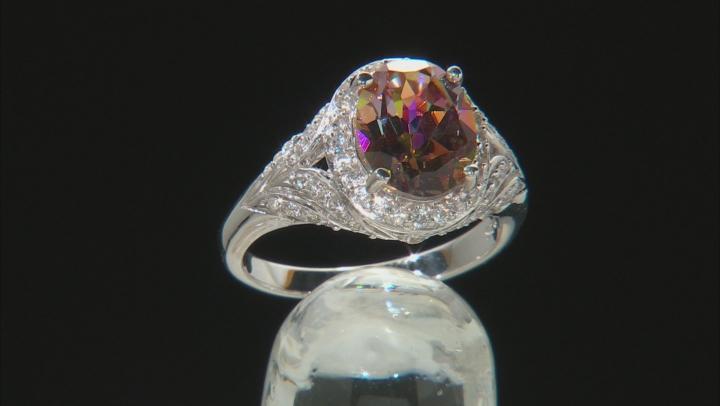 Multicolor Northern Lights(TM) Quartz rhodium over silver ring 2.49ctw