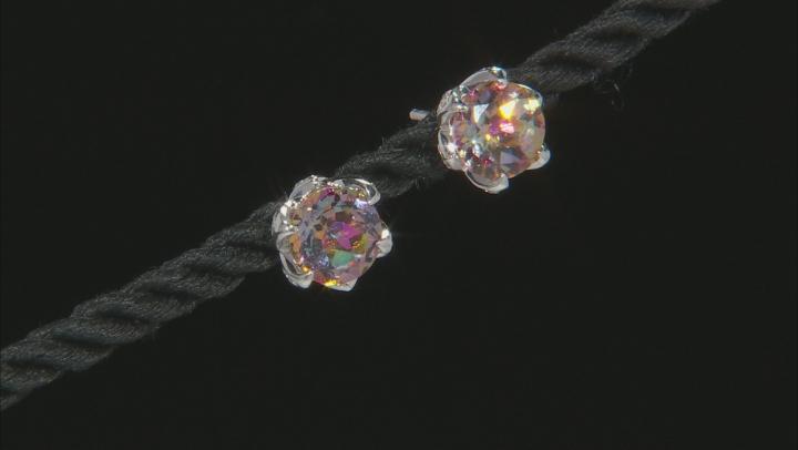 Multicolor Northern Lights(TM) Quartz rhodium over silver stud earrings 3.42ctw