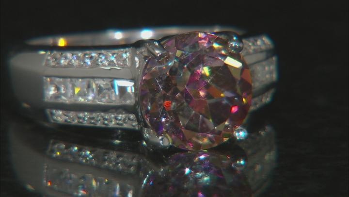 Multicolor Northern Lights(TM) Quartz rhodium over silver ring 2.60ctw
