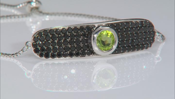 Green peridot rhodium over silver bolo bracelet 5.59ctw