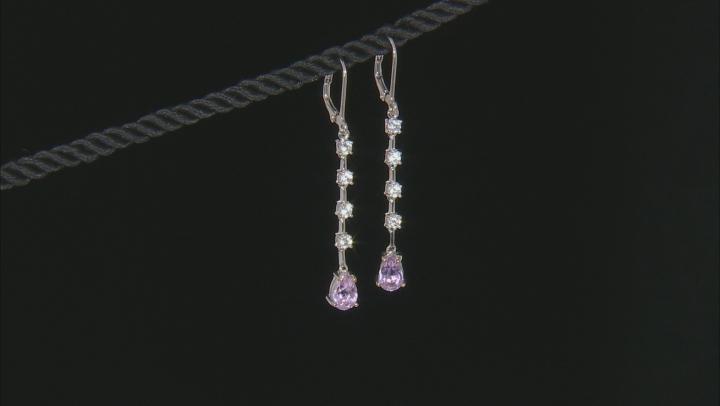 Pink kunzite rhodium over sterling silver earrings 2.38ctw