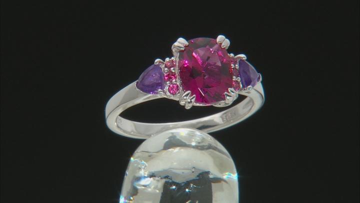 Pink Lab Created Bixbite Rhodium Over Silver Ring 1.81ctw