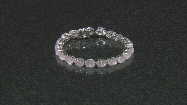 Pink Rose Quartz Rhodium Over Sterling Silver Bracelet