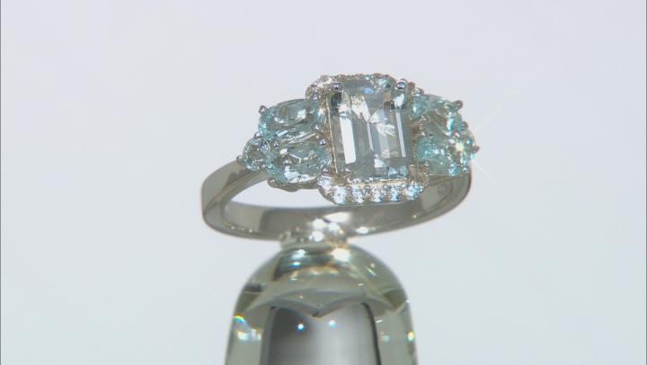 Blue aquamarine rhodium over sterling silver ring 2.35ctw