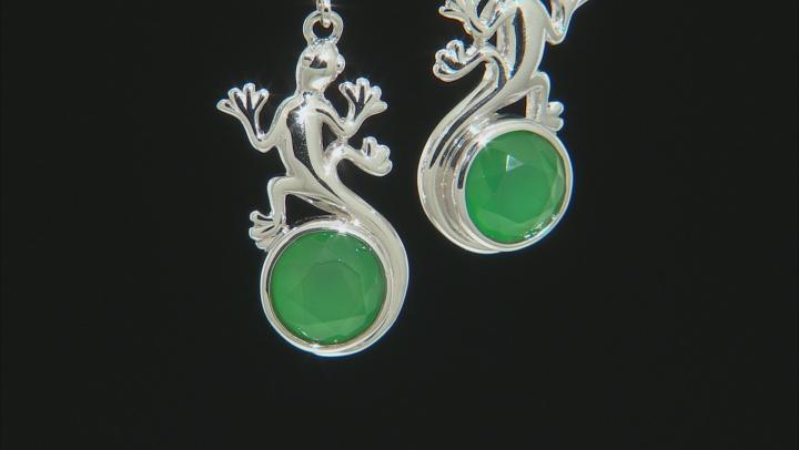 Green onyx rhodium over silver lizard earrings