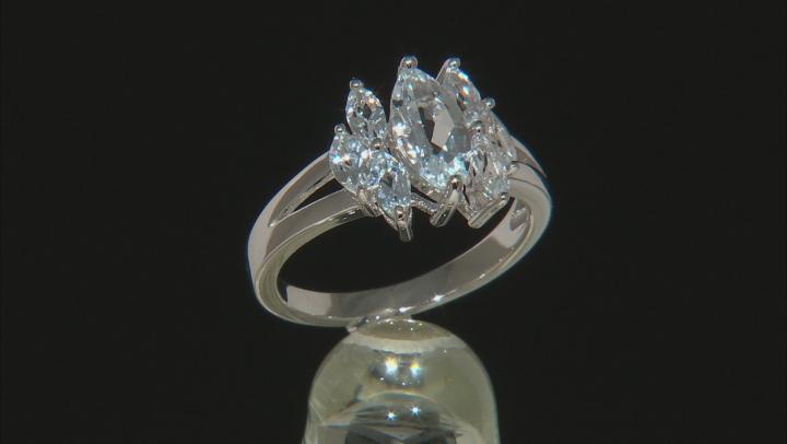 Blue aquamarine rhodium over silver ring 1.38ctw