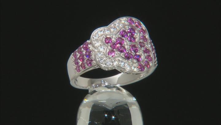Purple Raspberry Color Rhodolite Rhodium Over  Silver Ring 1.56ctw