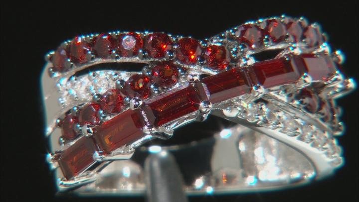 Red garnet rhodium over sterling silver ring 1.79ctw