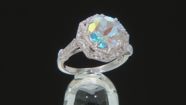 Multi-color Mercury Mist® Topaz Rhodium Over Sterling Silver Ring 4.07ctw