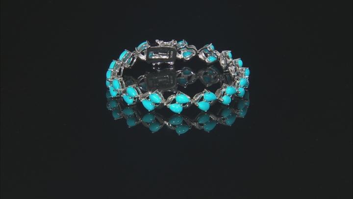 Blue turquoise rhodium over silver bracelet