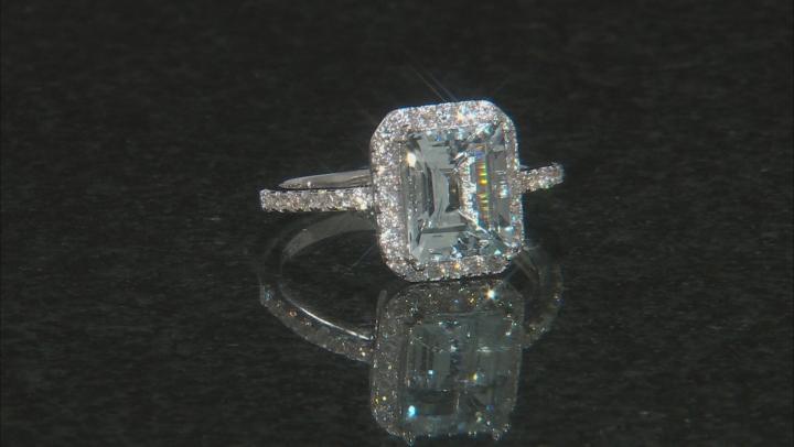 Blue aquamarine rhodium over sterling silver ring 2.85ctw