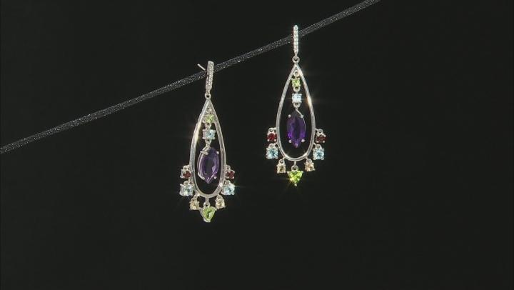 Multi-Gem rhodium over sterling silver dangle earrings 7.57ctw
