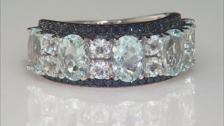 Blue aquamarine rhodium over sterling silver ring 4.22ctw