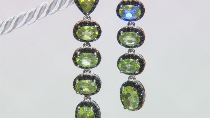 Green peridot rhodium over silver earrings 6.32ctw