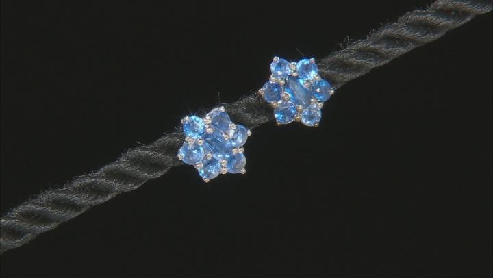 Blue kyanite rhodium over sterling silver stud earrings 2.36ctw