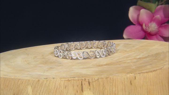 White Cubic Zirconia Rhodium Over Sterling Silver Tennis Bracelet