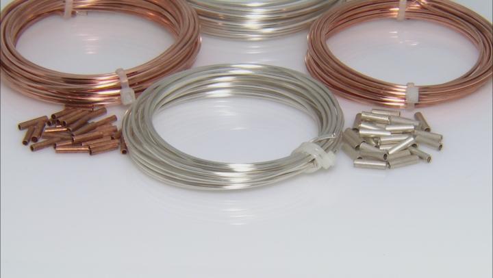 Artistic Wire Hexagonal & Crimp Connectors Kit 12 & 14  Gauge in Silver Tone & Bare Copper
