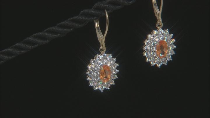 Orange Mandarin Garnet 10k Yellow Gold Earrings 2.61ctw