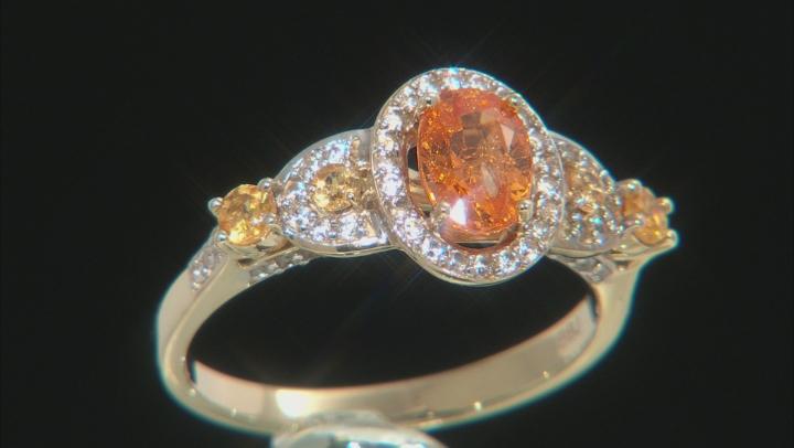 Orange Spessartite Yellow Gold Ring 1.58ctw