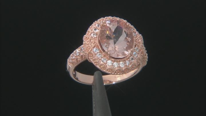 Pink Morganite 10k Rose Gold Ring 3.36ctw