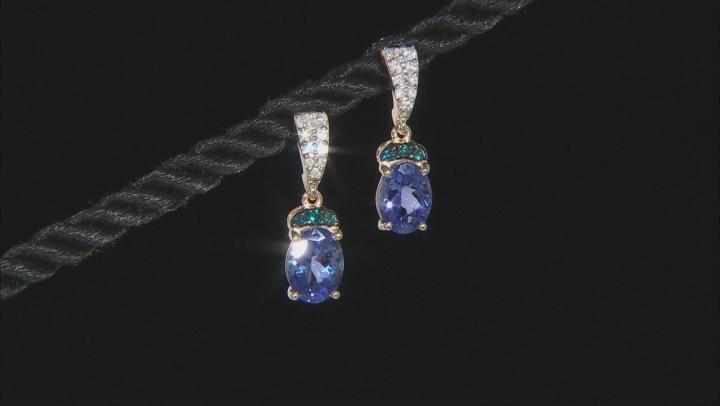 Blue Tanzanite 10k Yellow Gold Earrings 2.80ctw