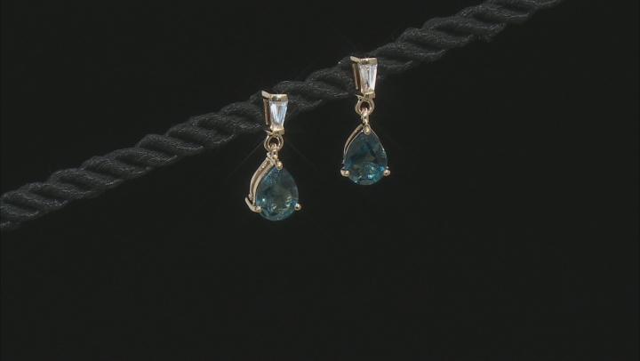 Pear London Blue Topaz 10k Yellow Gold Earrings