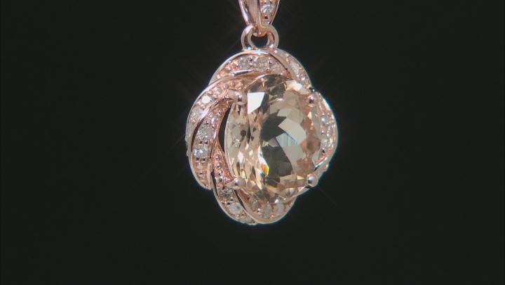 Pink Cor De Rosa Morganite 10k Rose Gold Pendant With Chain 2.16ctw