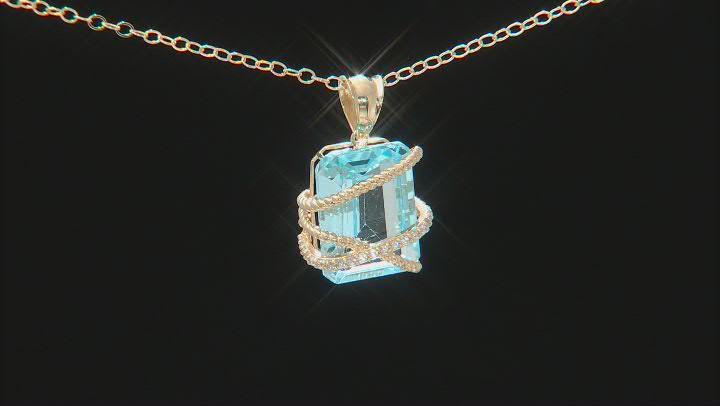 Glacier Topaz With White Zircon 10k Yellow Gold Pendant With Chain 8.54ctw