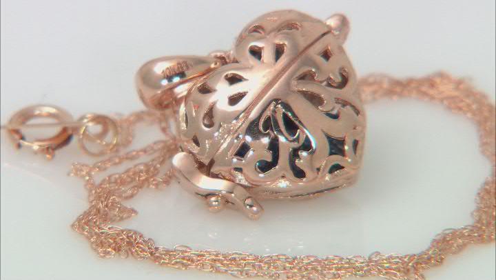 Blue Sapphire 10k Rose Gold Heart Prayer Box Pendant With Chain 1.40ctw
