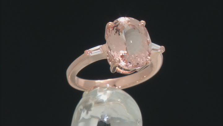 Pink Morganite 10k Rose Gold Ring 4.01ctw