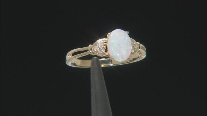 White Ethiopian Opal 10k Yellow Gold Ring 0.61ctw