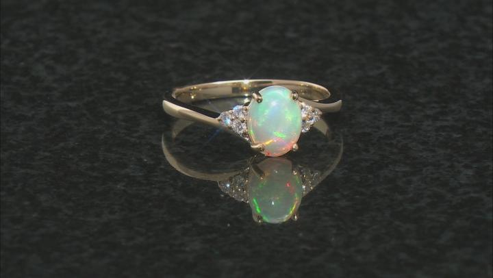 White Ethiopian Opal 10k Yellow Gold Ring 0.66ctw