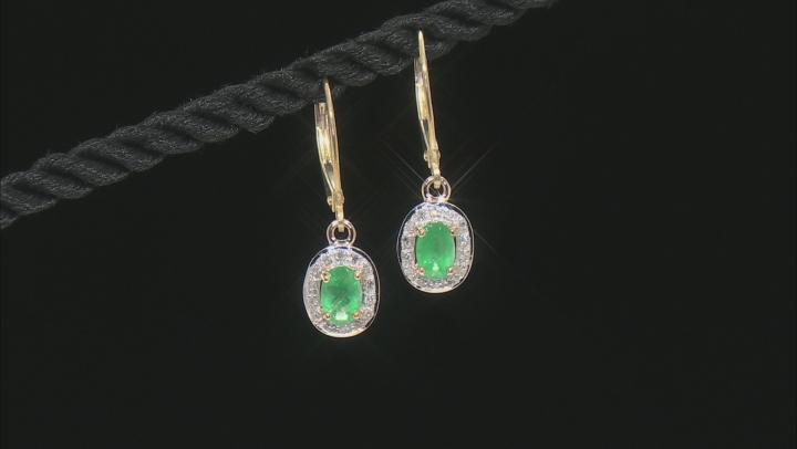 Green Emerald 10k Yellow Gold Earrings .84ctw